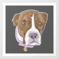 pitbull Art Prints featuring PITBULL by designrainey