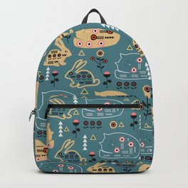 Folk bunnies and cats Backpack