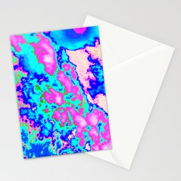 Cool Pink Blue and Green Abstract Design (Cloud Series #3 - Ice) Stationery Cards