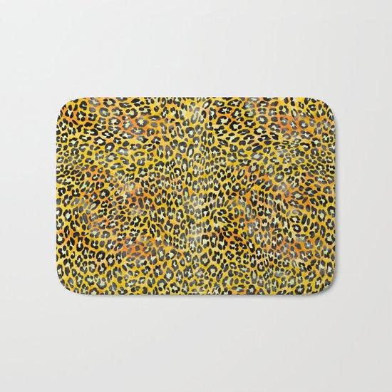 Yellow Leopard Print Bath Mat