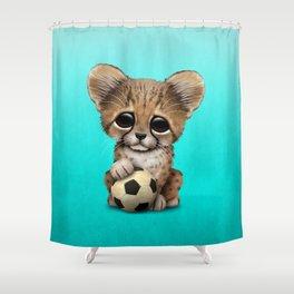 Cheetah Cub With Football Soccer Ball Shower Curtain