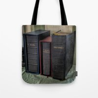 bible Tote Bags featuring The Bible by Adrian Evans