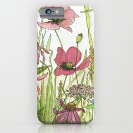 Red Poppy Wildflowers Watercolor Ink  iPhone Case