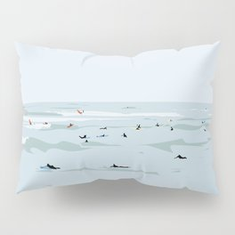 Tiny Surfers in Lima Illustrated Pillow Sham