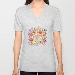 Carpe Diem Floral ring Unisex V-Neck