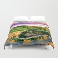 the lord of the rings Duvet Covers featuring Lord of the Rings Hobbiton by KS Art & Design