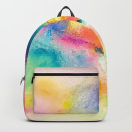 Vibrant Rainbow Watercolor Abstract Backpack