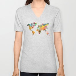 World map 1 Unisex V-Neck