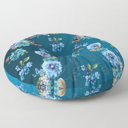 Cornflower Blues in Watercolor Floor Pillow