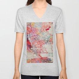 Chula Vista map California painting Unisex V-Neck