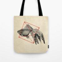 fish Tote Bags featuring Fish In Geometrics III by Florent Bodart / Speakerine