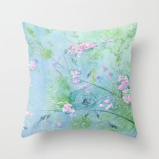 Floating Cherry Blossom - Art Watercolor Painting print by Suisai Genki Throw Pillow