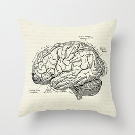 Vintage medical illustration of the human brain Throw Pillow