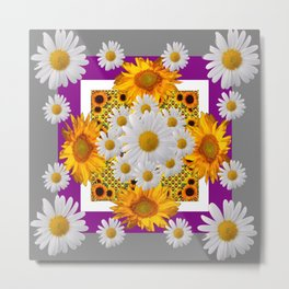 GREY & WHITE DAISIES FLORAL ABSTRACT & YELLOW SUNFLOWERS Metal Print