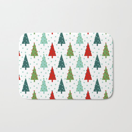 Christmas Tree holiday dots snow polka dot minimal modern geometric christmas decor design Bath Mat