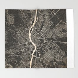 budapest map ink lines Throw Blanket