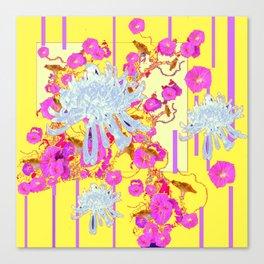 Modern Yellow Art White Spider Mums Pink Flowers Garden Art Canvas Print