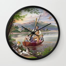 A family out boating Wall Clock