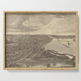 Vintage Pictorial Map of Davenport IA (1875) Serving Tray
