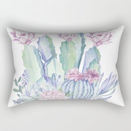 Desert Love Cactus + Succulents Rectangular Pillow