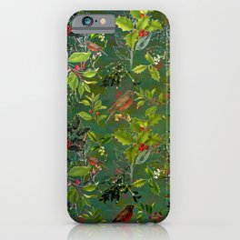 Christmas Pattern with Green Background iPhone Case