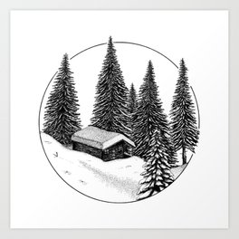 Cabine in the snow Art Print