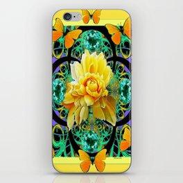 Butter Yellow Aqua  Butterflies Yellow Rose Art iPhone Skin