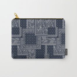 PATCHWORK BANDANA PRINT IN NAVY & WHITE Carry-All Pouch