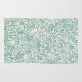 Detailed rectangle, light blue Rug