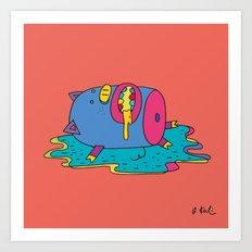 lazy pig Art Print