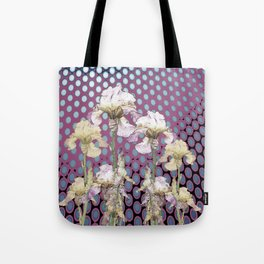 WHITE IRIS ON PUCE COLORED MODERN PATTERNS Tote Bag