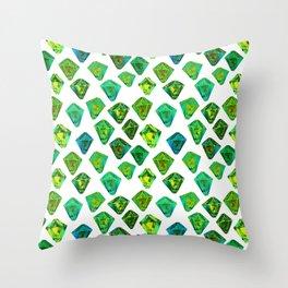 Green gemstone pattern. Throw Pillow