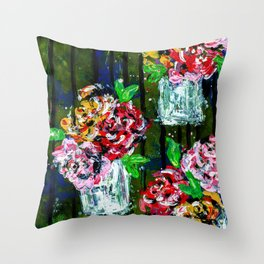Buckets of Flowers Throw Pillow