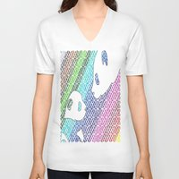 pandas V-neck T-shirts featuring colourful pandas  by Dal Sohal