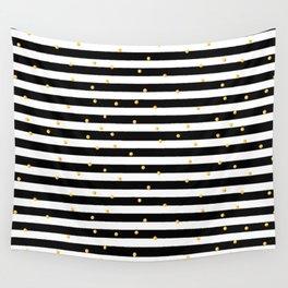 Modern black white gold polka dots striped pattern Wall Tapestry