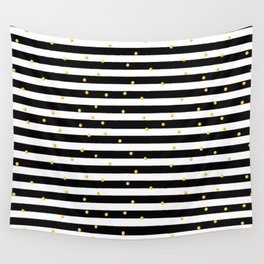 Modern black white gold polka dots striped pattern Wall Tapestry