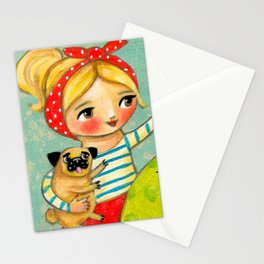 Record Player and Pug Stationery Cards
