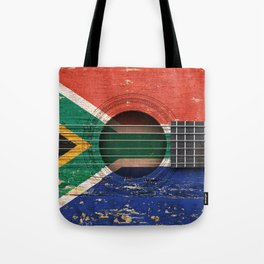 Old Vintage Acoustic Guitar with South African Flag Tote Bag
