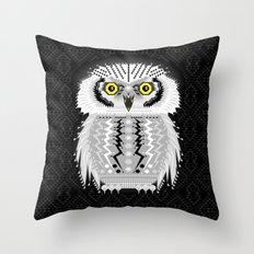 Geometric Snowy Owl Throw Pillow