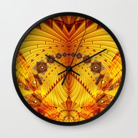 pyramid Wall Clocks featuring Pyramid by Christine baessler