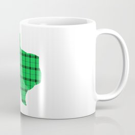 Texas State Shape: Green Plaid Coffee Mug