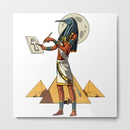 Thoth Egyptian God Ancient Pyramids Metal Print