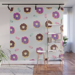 Donuts and jelly beans pattern Wall Mural