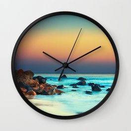 Sunset by the Sea Wall Clock