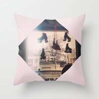 roller derby Throw Pillows featuring Roller Derby by Michelle Wenz