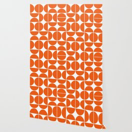 Mid Century Modern Geometric 04 Orange Wallpaper