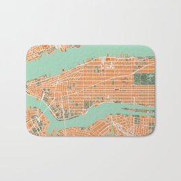 New York city map orange Bath Mat