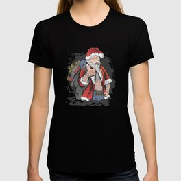 "Tattooed Santa Claus and his bag full of ""alternative"" Christmas gifts. T-shirt"