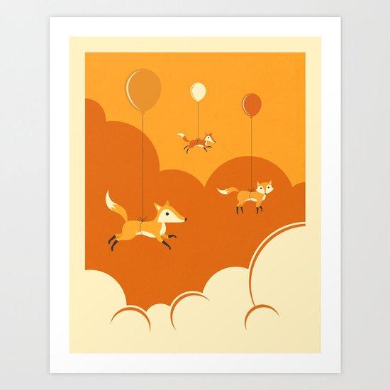 FLOCK OF FOXES Art Print