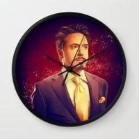 tony stark Wall Clocks featuring Tony Stark - Iron Man by KanaHyde